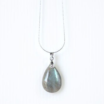 Labradorite Pendant Necklace, Simple Dainty Labradorite in Pear Teardrop Shape, Sterling Siver Chain, Glowing Stone
