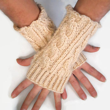 Beige Fingerless Gloves Wrist Warmers Cable Handknit