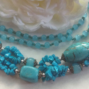 "Turquoise Chalcedony Necklace Gemstones Multistrand Silver Glass Beads 30"" Handmade Chunky Southwestern tribal vintage healing jewelry gift"