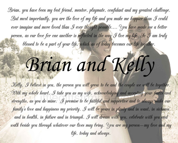 Personalized Wedding Vows Print Wedding From Littlegiftsfrmheav