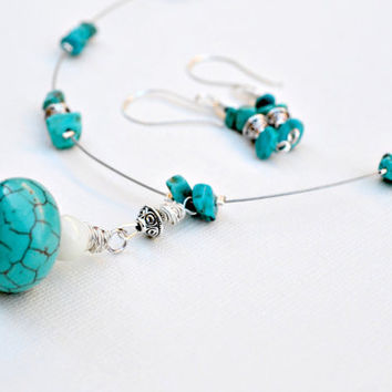 Turquoise Necklace and Earrings Set, Mother of Pearl and Turquoise, Necklace Set, Jewelry Set, Turquoise Jewelry, Blue Earrings