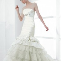 Pretty Strapless Mermaid Taffeta Wedding Dresses Bridal Gowns With Beading And Lace