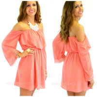 Hillcrest Coral Off-Shoulder Dress