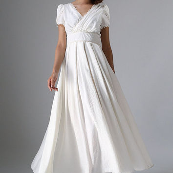 White maxi linen wedding dress (959)