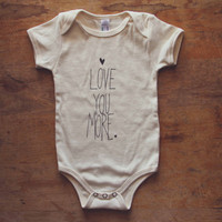 Natural 100% Organic Baby One-piece Love You More Heart Screen Printed