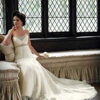 Affordable Beautiful Strapless Sweetheart Neckline Beading Organza Chapel Train Wedding Dresses