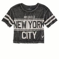 AEO Women's Nyc Cropped Varsity T-shirt (True Black)