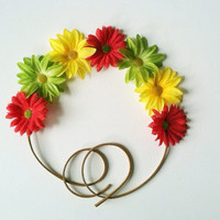 Rasta (Red,Green,Yellow) Flower Headband, Flower Crown, Flower Halo