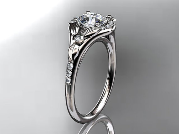 14kt white gold diamond floral wedding by anjaysdesigns on Etsy