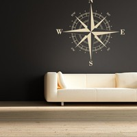 $34.95 Compass Rose Nautical Vinyl Wall Decal by EmpireCityStudios