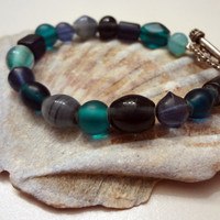 Blue Glass Bracelet by EudaimoniaJewelry on Etsy