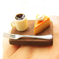 Cute Food Ring Cheesecake Coffee Miniature Food by SouZouCreations