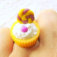 Food Ring Kawaii Lemon Grape Candy Cup by SouZouCreations