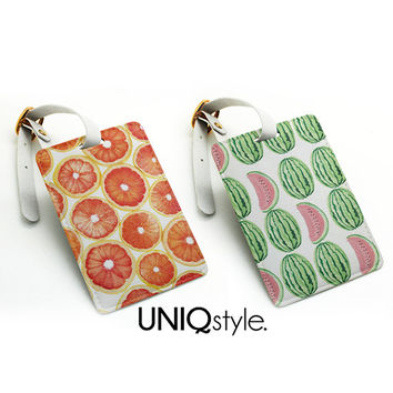 Luggage Tag - cute pattern watermelon / grapefruit - travel bag tag, name tag, office tag, suitcase tag, school bag tag with straps, I25