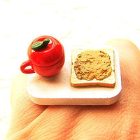 Kawaii Food Ring Apple Tea Peanut Butter Toast by SouZouCreations