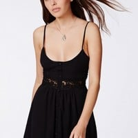 Missguided - Otisa Black Crochet Waist Skater Dress