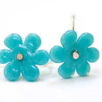 Turquoise Blue Flower Bead Earrings Handmade by susansheehan