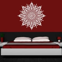 Wall Decal Vinyl Sticker Decals Art Decor Design Mandala Yoga Symbol Ornament Indidan Geometric Moroccan Pattern Modern Bedroom Dorm (r826)
