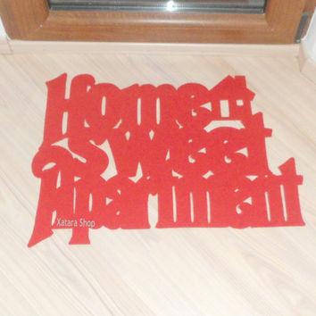 "Handmade floor mat ""Home sweet Apartment"" with a little house"