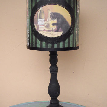 Absinthe Lamp Shade Lampshade - Bohemian decor, green lamp shade, striped lamp shade, french decor,vintage advertising,alcohol labels