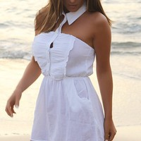White Button-Up Cover-Up Skirtdress