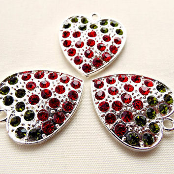Strawberry Charms, 3 Silver Hearts, Heart Pendant, Rhinestone Charms, Strawberry Pendant, Silver Plated Heart