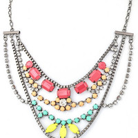 Candy Crusader Statement Necklace - Gunmetal + Multi | Daily Chic