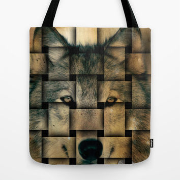 Woven Wolf Tote Bag