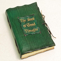 The Book of Good Thoughts Green Leather Journal by GILDBookbinders