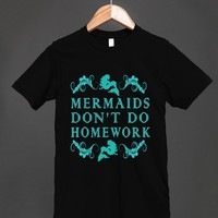 mermaids don't do homework reg tee-blk-JH-Unisex Black T-Shirt