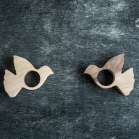 Napkin rings Pigeon bird wooden SET of 4 rings table decor for your table setting wedding or theme party