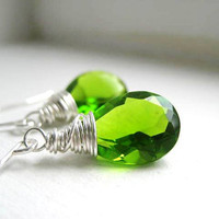 Spring Green Quartz Faceted Pear Cut Stone by JulieEllynDesigns