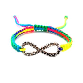 Directioner (TM) Multicolor Braided Silver Tone Infinity Sign Bracelet XB285R