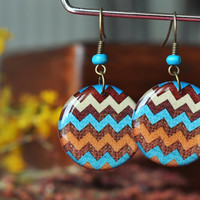 Blue Chevron Dangle Earrings, Unique Handmade Resin Earrings