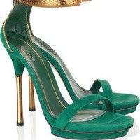 Gucci | Suede and glossed-python sandals | NET-A-PORTER.COM