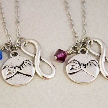 Two Best Friends Necklaces - Pinky Promise Charm Necklaces - Pinky Swear Birthstone Jewelry - Custom Monogram Jewelry - Best Friend Gift