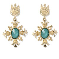 Golden Baroque Turquoise Pendant Earrings Multi