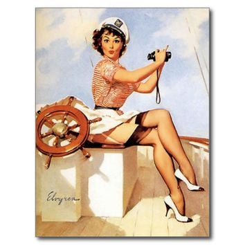 Vintage Pinup Girl Retro Pin-Up Sailing