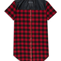 Flannel Back Zip Long Tee