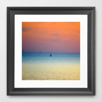 Sailing into the sunset Framed Art Print by Laura Santeler