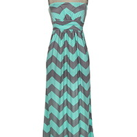 Mint Delicacy Chevron Maxi Dress