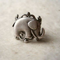 Elephant Ring Adjustable Antique Silver by PiggleAndPop