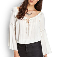 FOREVER 21 Off-The-Shoulder Blouse Cream