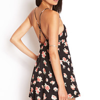 FOREVER 21 Floral Print Cami Dress Black/Rust Large