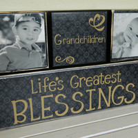 Black wooden blocks Grandchildren life's greatest by FayesAttic11
