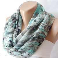 Green white Black tones DancingInfinity Loop Scarf by Periay