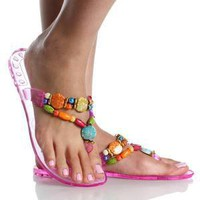 Pink Jelly Tribal Ethnic Flip Flop Sandals Shoes Size 6 | eBay