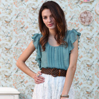 soothing sound of waves sheer ruffle top - &amp;#36;28.99 : ShopRuche.com, Vintage Inspired Clothing, Affordable Clothes, Eco friendly Fashion