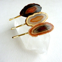 Hair Jewelry. Natural Stone Bobby Pins. Bridesmaids/Wedding/Gifts. Set of Three Agate Slice Bohemian Accessories