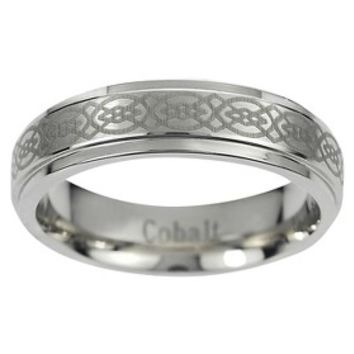 Daxx Men's Cobalt Engraved Celtic Design Band